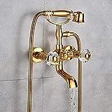 Sistema de ducha de latón dorado Bañera mezclador de ducha Set doble perillas mezclador montaje en pared baño ducha giratoria bañera caño baño ducha
