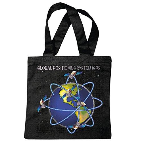 Tasche Umhängetasche GLOBAL POSITIONIERUNGSSYSTEM GPS Erde SATELLITEN WELTALL Weltraum Astronaut Roboter Einkaufstasche Schulbeutel Turnbeutel in Schwarz