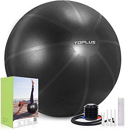 TOPLUS Exercise Ball, Gym Ball Supports 2200lbs Yoga Ball Anti-Burst & Extra Thick, Swiss Ball with Quick Pump Birthing Ball for Yoga, Pilates, Fitness, Pregnancy & Labour (Black-65cm)