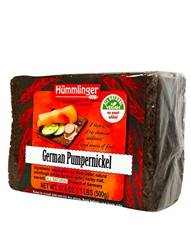 German Pumpernickel Bread Yeast Free Hummlinger, No Yeast Added 17.6oz (6 packsages)