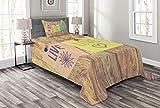 ABAKUHAUS Lebe Lache Liebe Tagesdecke Set, Post-It Perks, Set mit Kissenbezug luftdurchlässig, für Einselbetten 170 x 220 cm, Multicolor