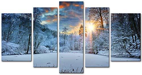 Basilefc 5 Teilig Leinwandbilder200X100Cm Schneefeld Winter Schnee Wald Bäume Sonnenaufgang Landschaft Hölzerne Rahmen Bild Auf Leinwand Wandbild Kunstdruck Wanddeko Wand Wohnzimmer Wanddekoration Dek