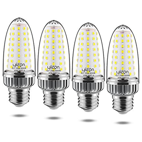 Yiizon LED Lampadina Mais 20W, 6000K Bianco Freddo, 2000LM, E27 Vite Edison Grande, 150W Lampadine Incandescenza Equivalenti, Non Dimmerabile, 4 Pezzi