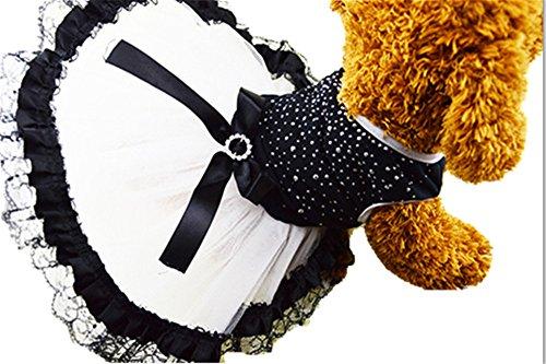 SiSaroペット服 ドリル きらきら 春夏着 犬の服 犬洋服 ドレス スカート プリンセス レース ワンピース小型犬 中型犬 結婚式 礼服 (M)