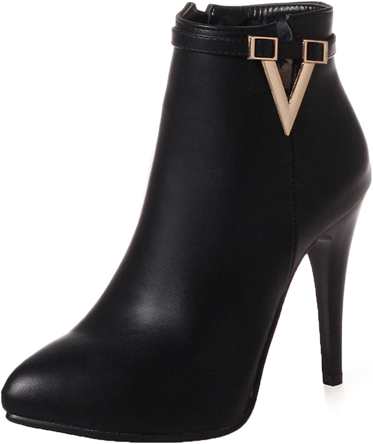 Vitalo Womens Classic High Heel Stiletto Point Toe Ankle Boots Zip Up Autumn Dress Short Booties