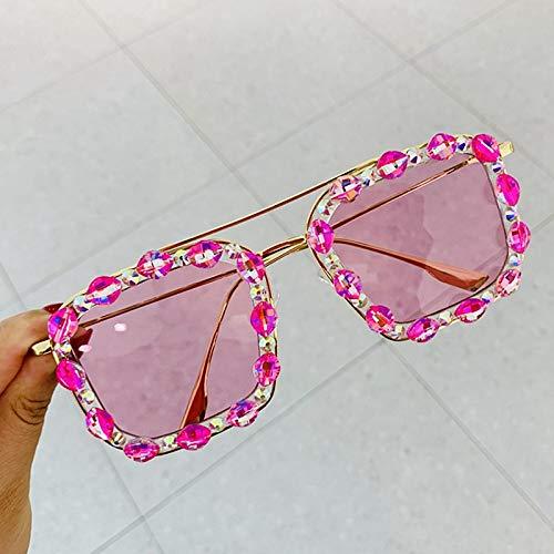 Moda Gafas De Sol Cuadradas De Lujo para Mujer, Diseñador De Marca Retro, Marco De Metal, Cristal Colorido, Gafas De Sol De Gran Tamaño, Sombras Femeninas, Rosa