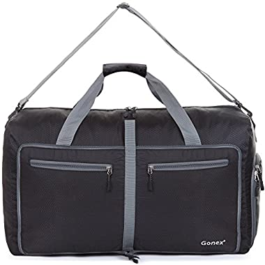 Gonex 80L Packable Travel Duffle Bag, Large Lightweight Luggage Duffel (Black)