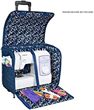 Everything Mary Collapsible Sewing Machine Case, Blue Dot - Craft Rolling Tote Cover Bag with Wheels for Brother, Singer, Bernina, Most Machines - Storage Organization Carrying Cart for Accessories