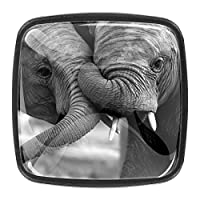 キッチンキャビネットノブ4個セット-プルノブ引き出しとドレッサーハンドル- 2頭の象