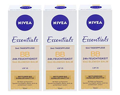 3x Nivea BB Cream 5in1 mittlere bis dunkle Haut 24h Feuchtigkeit LSF 15 je 50ml