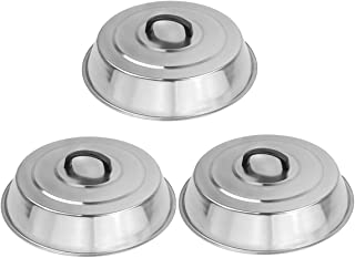3 Sets BBQ Accessories 12 Inch Round Stainless Steel Basting Cover - Cheese Melting Dome and Steaming Cover, Best for Blac...
