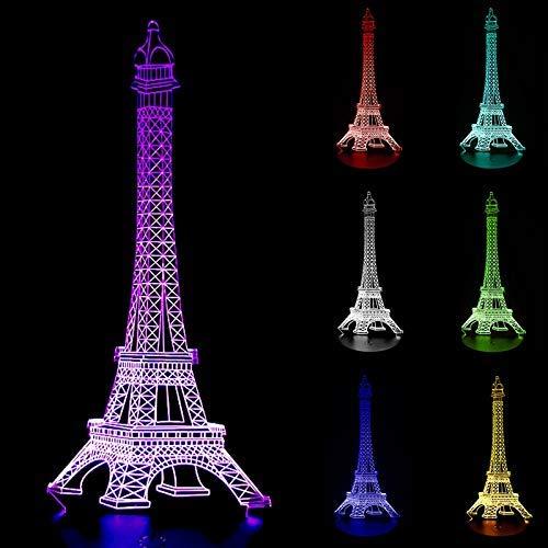 Chenbz Ilusión de luz LED de la noche La Torre Eiffel 3D Diseño 3D lámpara de noche lámpara de mesa lámpara de escritorio Inicio Cambio del color de iluminación SA718 T45