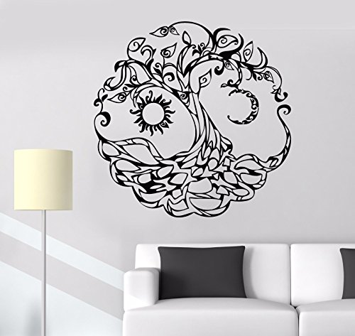 Vinyl Wall Decal Tree of Life Celtic Symbol Moon Sun Day Night Stickers (722VS)