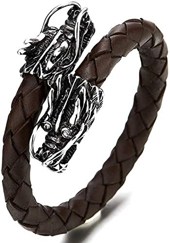 NC188 Elastic Adjustable Mens Brown Braided Leather Wrap Bracelet Wristband with Stainless Steel Dragons