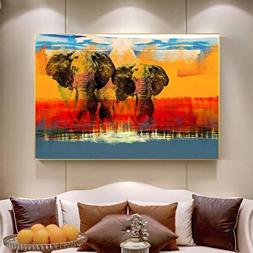 SHENLANYU Moderno Elefante Animal Arte de la Pared impresión en Lienzo sobre Lienzo Carteles e Impresiones Estilo nórdico Sala de Estar decoración del hogar 31.4'x47.2 (80x120cm) sin Marco