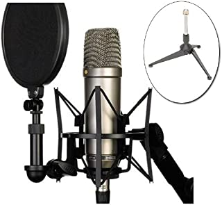 Rode NT1-A Cardioid Condenser Microphone Recording Package with Free Tripod Base Desk Stand