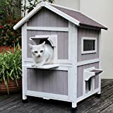 Outdoor Cat House Feral-Cat Shelter Escape Door Waterproof Insulated Two Story HiCaptain