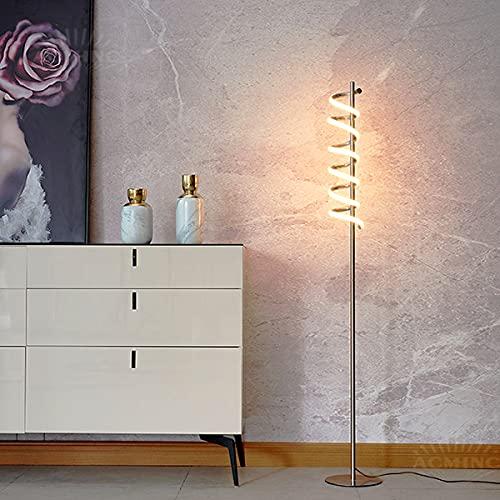 ACMHNC Lámpara de Pie Salon Espiral, Moderna Minimalista Lámpara de Piso LED Cromada Para Dormitorio, Oficina y Comedor, Lámpara de Lectura Metal Blanca Cálida 3000K, 1200LM, 15W, Brillo de Nivel 3