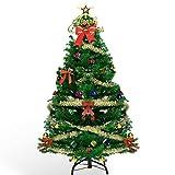 AHK Sapin de Noël Artificiel 150cm avec Lumineux LED, 135 Ornements Détachables Cadeaux, pour Décoration de Noël