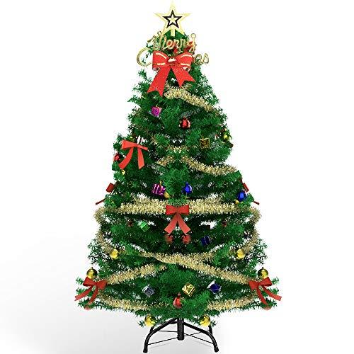 AHK Künstlicher Weihnachtsbaum 150cm mit LED Beleuchtung und 135 Ornamenten, Schnellaufbau Klapp-Schirmsystem, Metall Christbaum Ständer