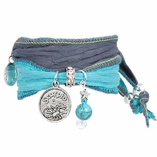 Anisch de la Cara damesarmband schorpioen - Signs of Zodiac sterrenbeeld armband van Indiase Saris Signs of Zodiac - artnr. 2260-j