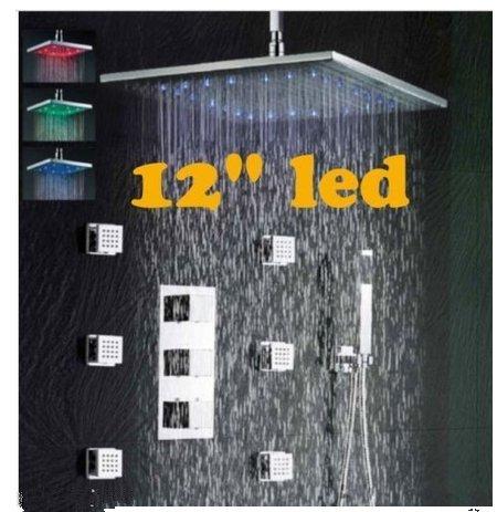 Gowe Badezimmer Duschpaneel Thermostat Ventil Armaturen 30,5cm Dusche Kopf Körper Massage Spray Düsen