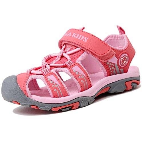 Sommer Sandalen Jungen Ultraleicht Geschlossen Trekking Wandern Schuhe Mädchen Unisex Kinder Outdoor Sport Strand mit Schnellverschlüsse Pink A 24 EU