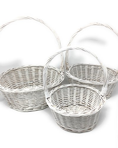 Madol Stackable Woven White Willow Round Wicker Basket