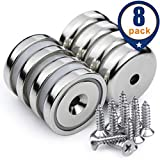 Neodymium Cup Magnets with 90 lbs Pull Capacity Each - Dia 1.26 inch - w/Matching Screws - Strongest Round Base Magnets