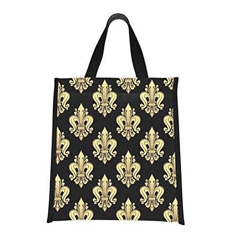 Bolsa de almuerzo para niño, bolsa de almuerzo heráldica francesa con flor de lis para mujeres, bolsa de almuerzo para adolescentes, reutilizable, plegable, mantiene la comida caliente