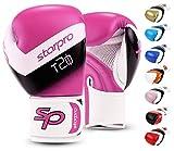 Starpro Guantes de boxeo (8 oz 10 oz 12 oz 14 oz 16 oz) Cuero sintético - guantes de boxeo de entrenamiento muay thai para Unisex-adulto [Rosado/ Blanco] [12 oz]