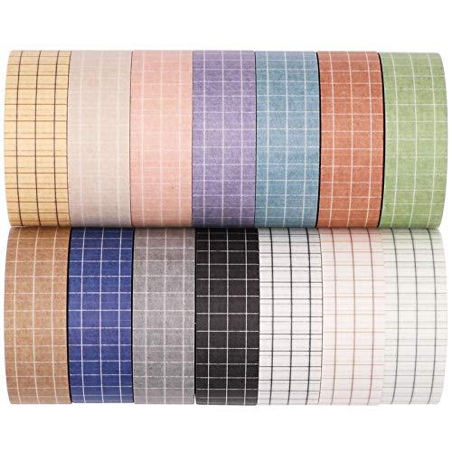Knaid Grid Washi Tape Set, 14 Rolls of 15 mm Wide Decorative Colored Masking...