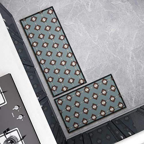 OPLJ Küchenmatte Anti-Rutsch-Türmatte Modernes Wohnzimmer Balkon Badezimmer Geometrisch bedruckter Teppich Waschbare Fußmatte A17 40x60cm