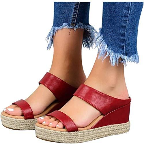 LONG-M Sandalias De Estilo Universitario para Mujer, Zapatos Informales De Tacón Bajo con Cuña, Cuero De Moda, Novedad De Verano De 2021,Rojo,38