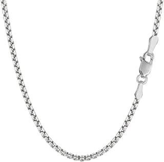 The Diamond Deal 925 Sterling Silver Rhodium Plated 3.8mm Thick Round Box Chain Necklace for Pendants And Charms With Lobs...
