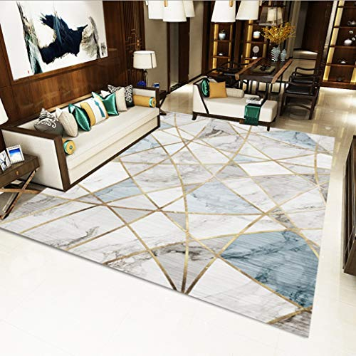 XQAQ modern minimalistisch tapijt voor woonkamer, tapijt in Noordse stijl met geometrische patronen, tapijt voor vloerbedekking en antislip 60*90CM Een