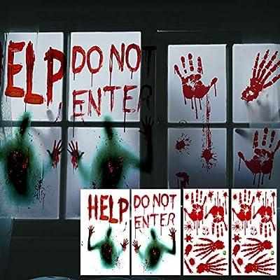 Gretess Halloween Window Door Decoration Set - 2 Giant Bloody Window Poster Clings & 6 Bloody Handprint Footprint & 16 Bloodmarks, Haunted Creepy Scary, Indoor Outdoor Party School House Door Decor