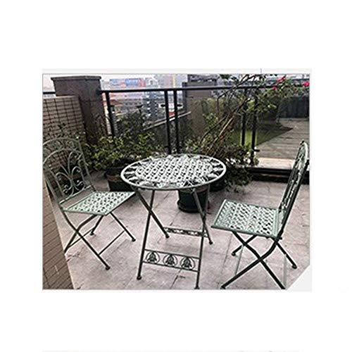 N/Z Living Equipment Sofahocker Klappbarer Gartentisch und Stuhl Set Eisen Multicolor American Industrial Style Aushöhlendes Design für Balkon Innenhof Bistro Cafe Outdoor (Farbe: Weiß)