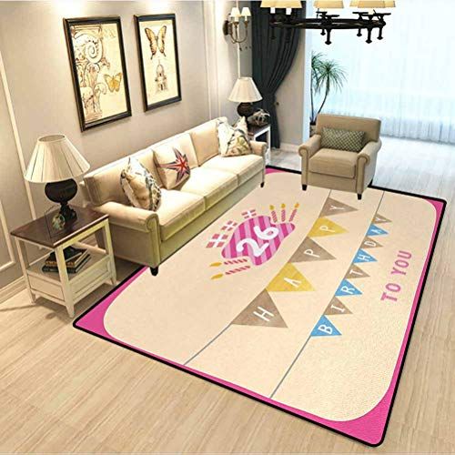26th Birthday Nursery Carpet Mat Anniversary Flag with Best Wishes Message Life Modern Design Print Carpet Protector for Desk Chair Peach and Hot Pink W3xL5 Feet