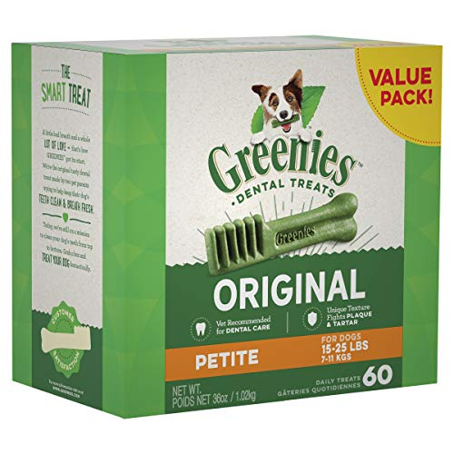 GREENIES Original Petite Natural Dog Dental Care Chews Oral Health Dog Treats 36 oz Pack 60 Treats