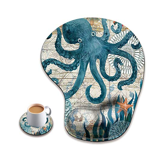 Ergonomic Mouse Pad with Wrist Rest, Cute Mouse Pad with Non-Slip Rubber Base, Suitable for Home Wffice Work, Octopus Ocean Life Teal Blue Sea Animal Custom Mouse Pad + A Round Coaster