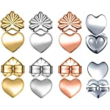 Premium 4 Pairs of Adjustable Hypoallergenic Earring Lifts for Ear Lobe, Instantly Lift Earring Backs, Easy to Use for Droopy Earrings (2 Silver, Gold and Rose Gold Plated Heart Style)