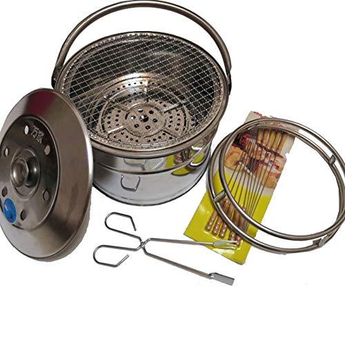 TWW Estufa De Picnic para Acampar De Acero Inoxidable Utensilios De Cocina Al Aire Libre Gasificador De Madera Estufa De Cocina Portátil Quema Senderismo