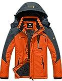 GEMYSE Men's Mountain Waterproof Ski Snow Jacket Winter Windproof Rain Jacket (Orange Grey,Small)