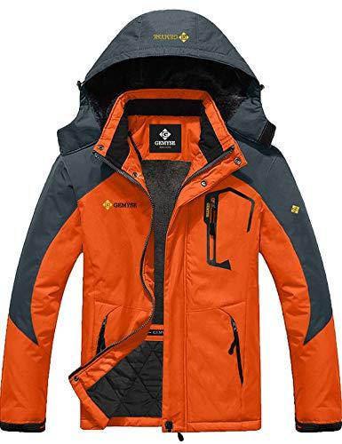 Mens Mountain Snow Rain Waterproof Orange Ski Jacket with Hood