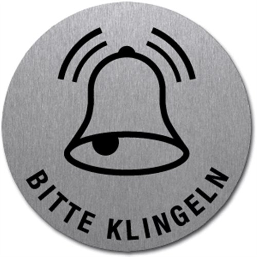 Schild Bitte Klingeln | Symbol und Text | Edelstahl selbstklebend 5 cm (Türschild, Edelstahlschild) wetterfest