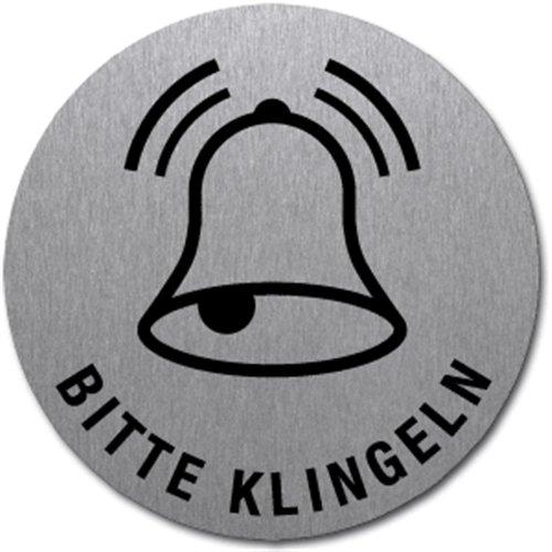 Bord alstublieft bellen | symbool en tekst | roestvrij staal zelfklevend 5 cm (deurbordje, roestvrijstalen plaat) weerbestendig