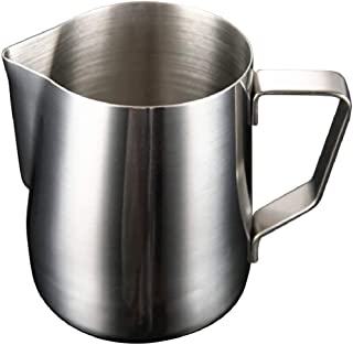 Saaikee Milk Frothing Pitcher Jug with Coffee Needle for Latte Art Work Stainless Steel Silver 800 ML (1 Piece)