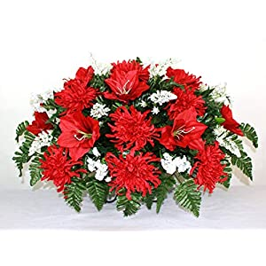 XL Red Lilies And Spider Mums Artificial Silk Flower Cemetery Tombstone Grave Saddle