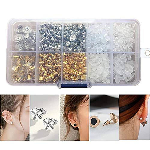 Xinlie siliconen sluitingen oorstopper sluitingen rug oorbel stopper oormoeren oorclip gemaakt van siliconen oorsteker sluiting oorhaak oorsteker passend alle post oorbellen 1 doos (1040 stuks)
